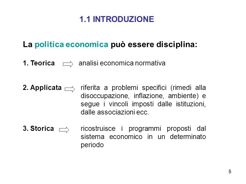 La politica economica può essere disciplina: