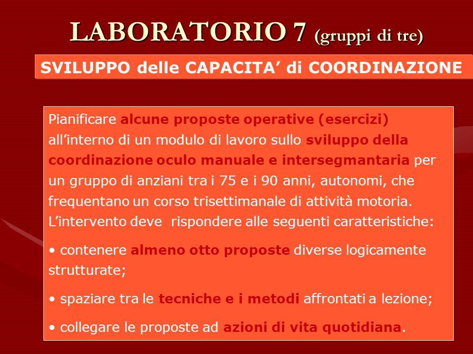 LABORATORIO 7 (gruppi di tre)