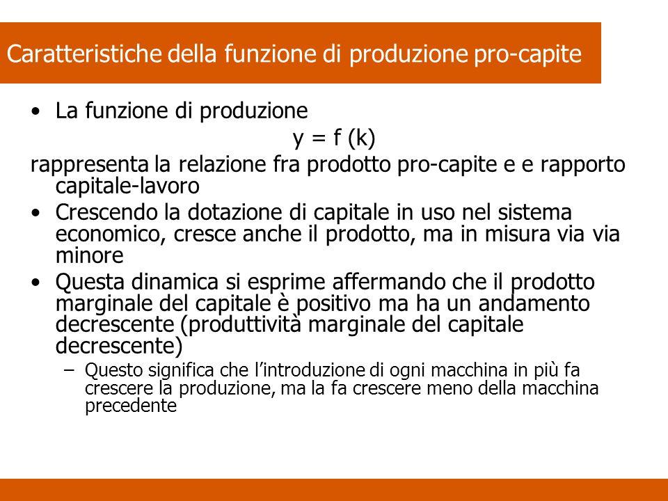 Caratteristiche della funzione di produzione pro-capite