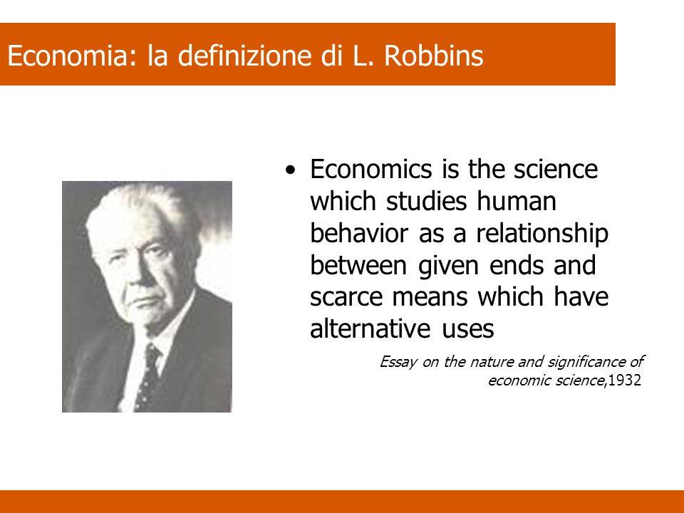 Economia: la definizione di L. Robbins