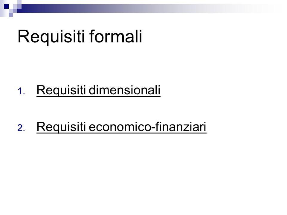 Requisiti formali Requisiti dimensionali