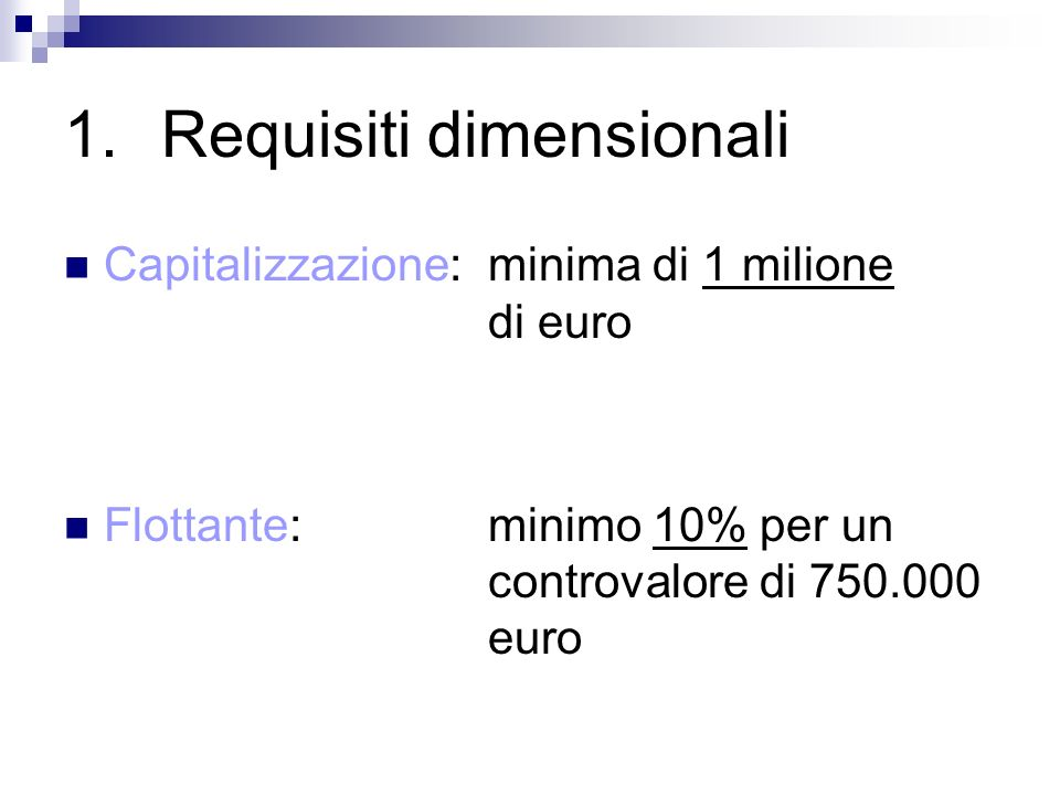 Requisiti dimensionali