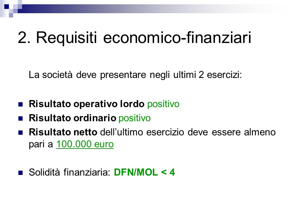 2. Requisiti economico-finanziari