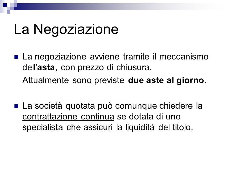 La Negoziazione La negoziazione avviene tramite il meccanismo dell asta, con prezzo di chiusura. Attualmente sono previste due aste al giorno.