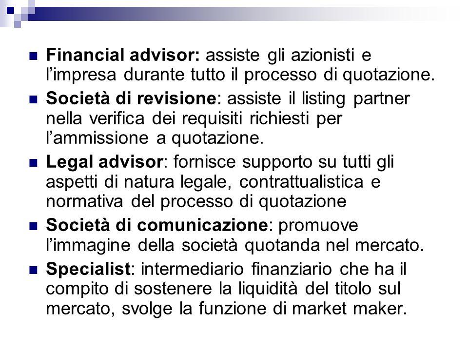 Financial advisor: assiste gli azionisti e l'impresa durante tutto il processo di quotazione.