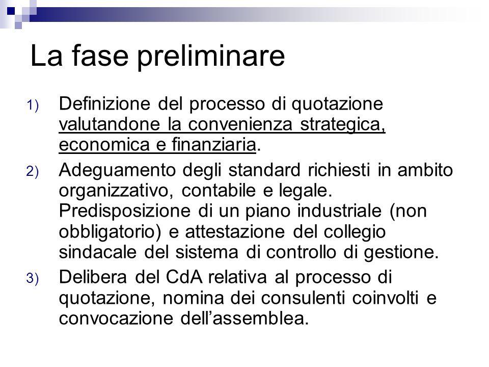 La fase preliminare Definizione del processo di quotazione valutandone la convenienza strategica, economica e finanziaria.