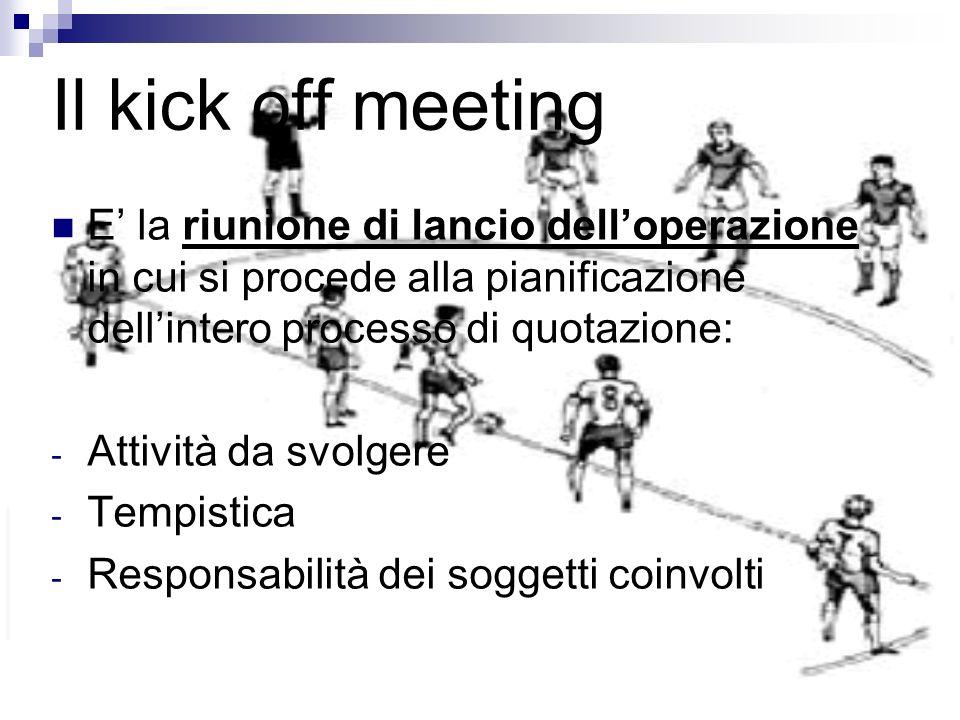 Il kick off meeting E' la riunione di lancio dell'operazione in cui si procede alla pianificazione dell'intero processo di quotazione: