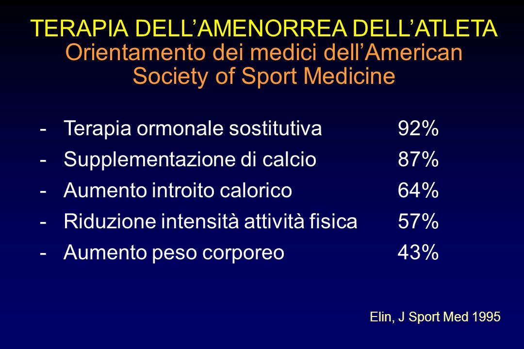 TERAPIA DELL'AMENORREA DELL'ATLETA