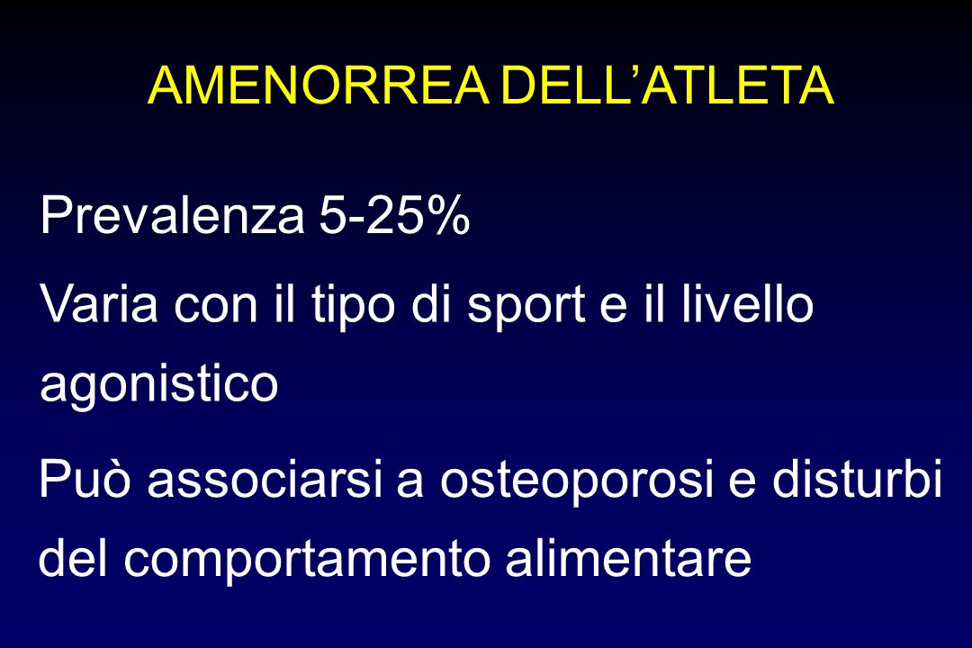 AMENORREA DELL'ATLETA