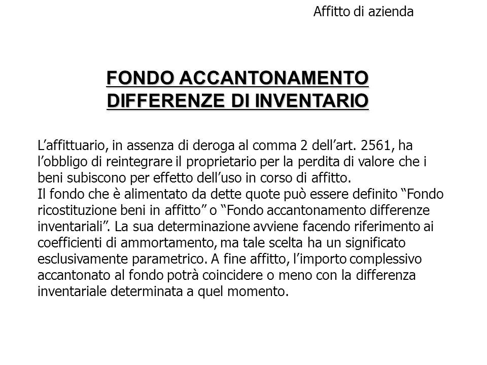FONDO ACCANTONAMENTO DIFFERENZE DI INVENTARIO