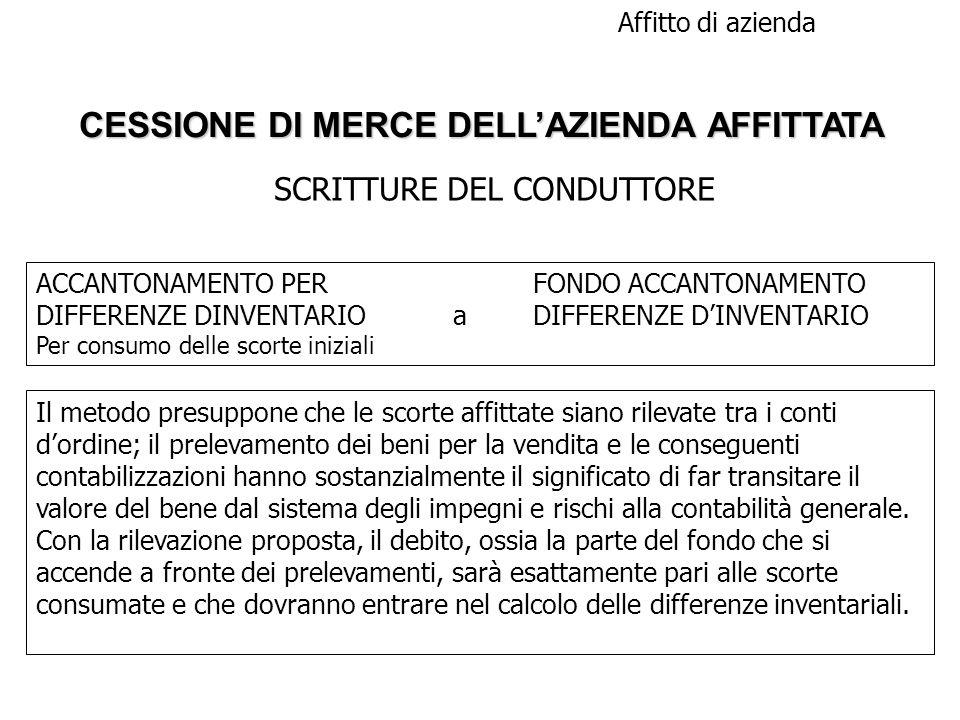 CESSIONE DI MERCE DELL'AZIENDA AFFITTATA