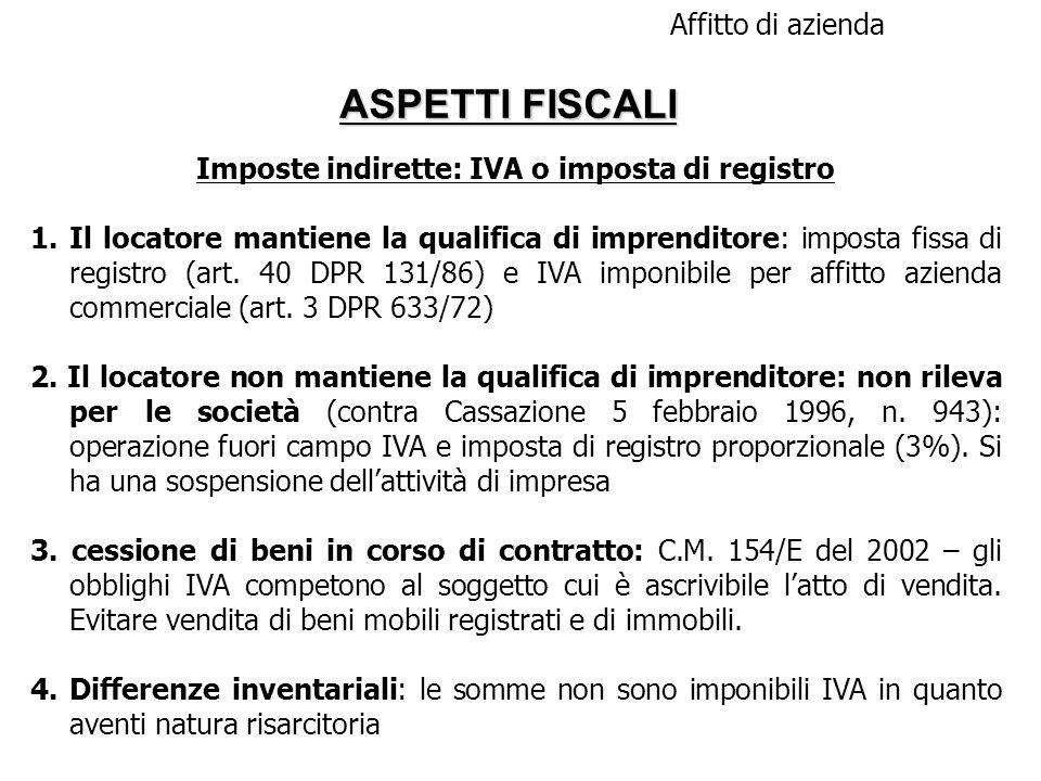 Imposte indirette: IVA o imposta di registro