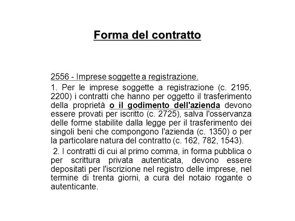 Forma del contratto 2556 - Imprese soggette a registrazione.