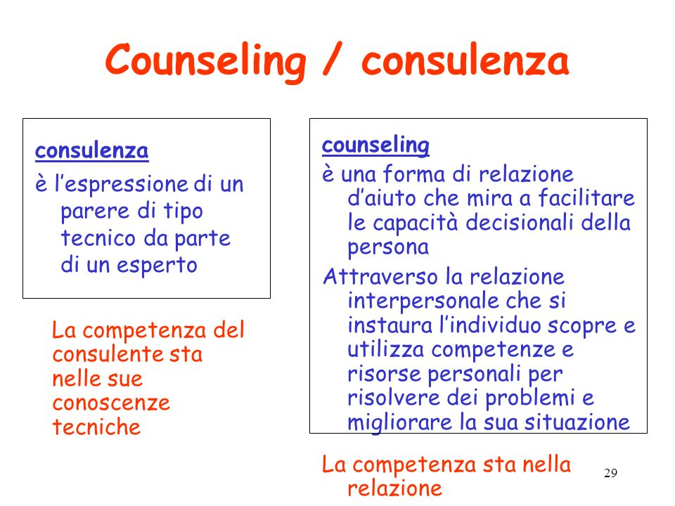 Counseling / consulenza