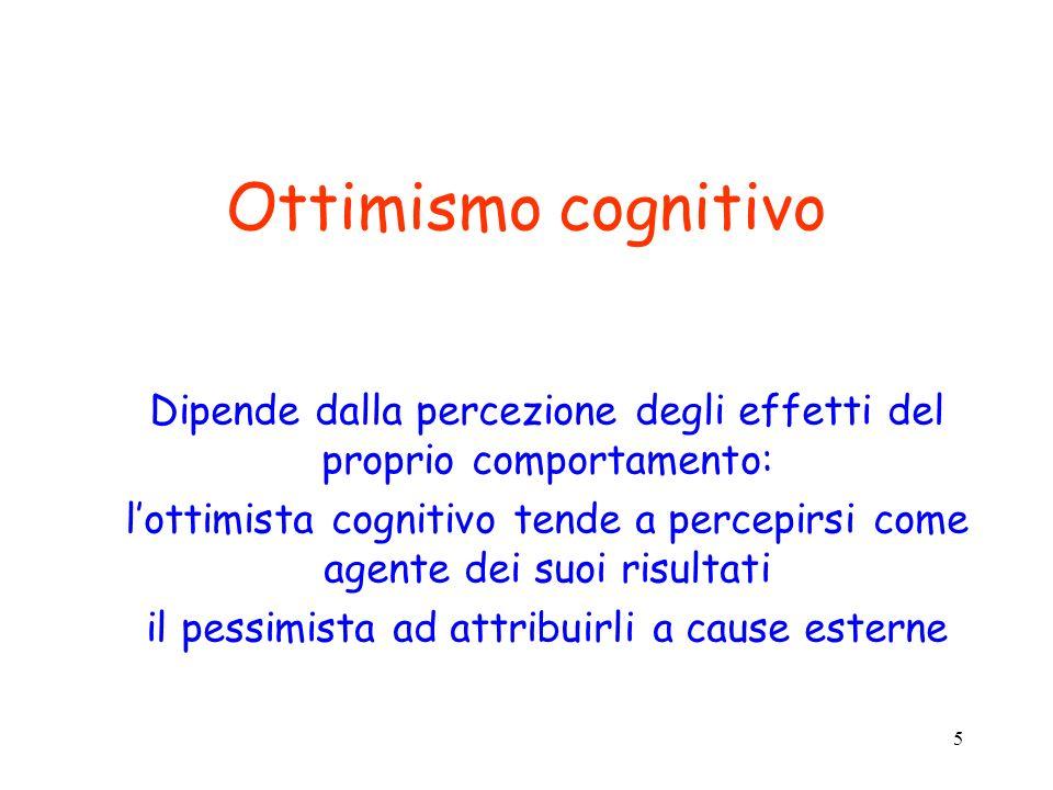 Ottimismo cognitivo Dipende dalla percezione degli effetti del proprio comportamento: