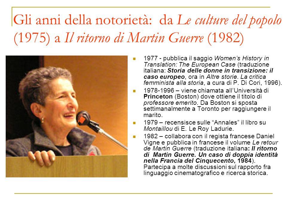 Gli anni della notorietà: da Le culture del popolo (1975) a Il ritorno di Martin Guerre (1982)