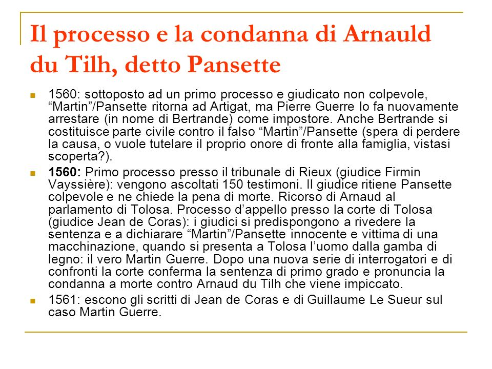 Il processo e la condanna di Arnauld du Tilh, detto Pansette