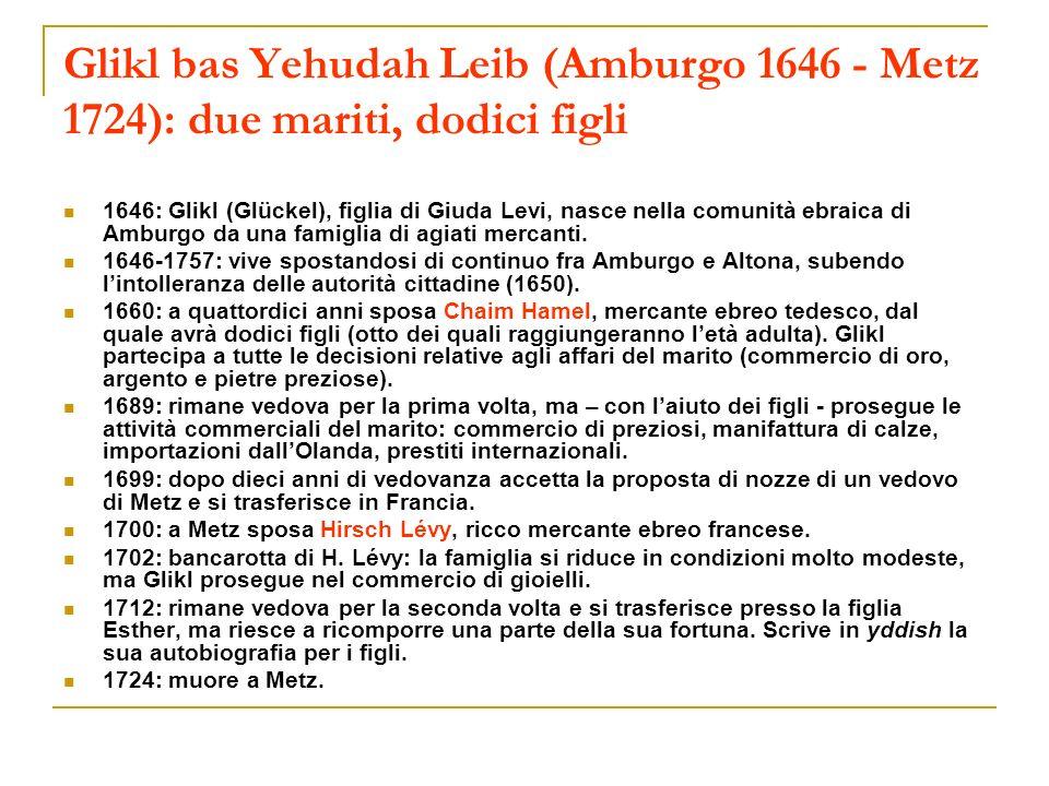 Glikl bas Yehudah Leib (Amburgo 1646 - Metz 1724): due mariti, dodici figli