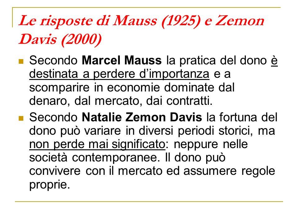 Le risposte di Mauss (1925) e Zemon Davis (2000)