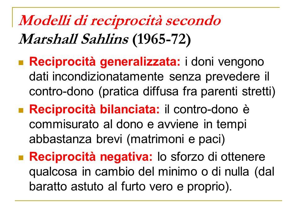 Modelli di reciprocità secondo Marshall Sahlins (1965-72)
