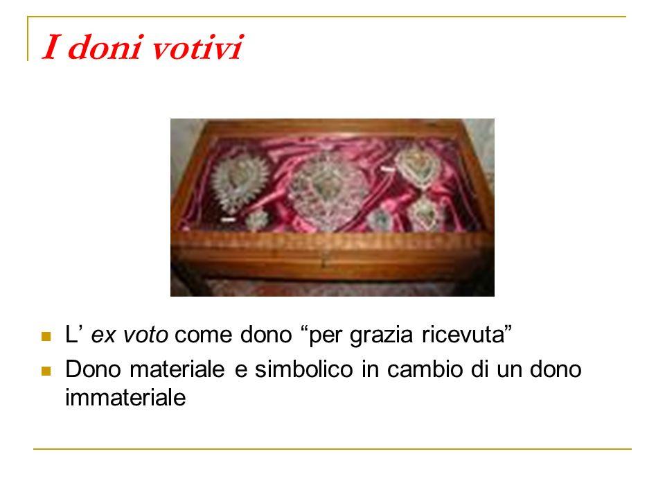 I doni votivi L' ex voto come dono per grazia ricevuta