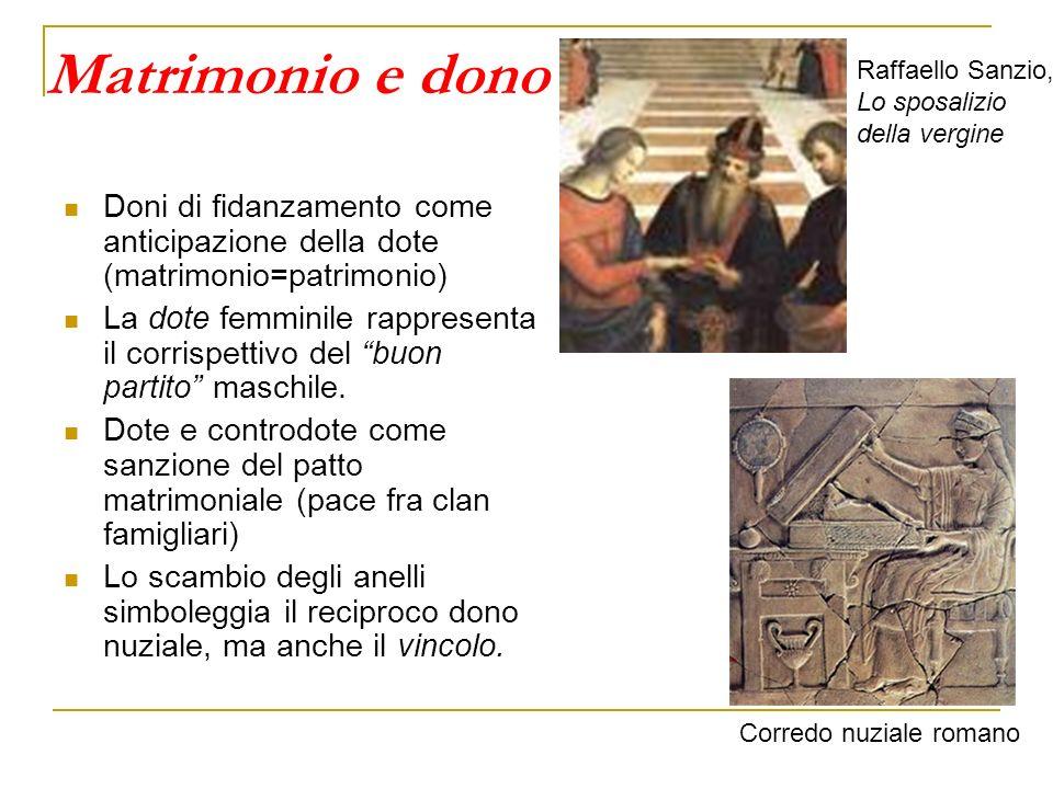 Matrimonio e dono Raffaello Sanzio, Lo sposalizio. della vergine. Doni di fidanzamento come anticipazione della dote (matrimonio=patrimonio)