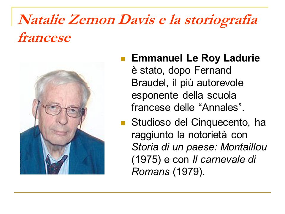 Natalie Zemon Davis e la storiografia francese