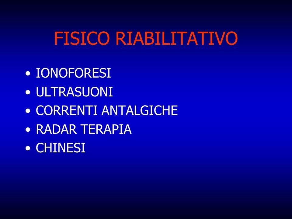 FISICO RIABILITATIVO IONOFORESI ULTRASUONI CORRENTI ANTALGICHE