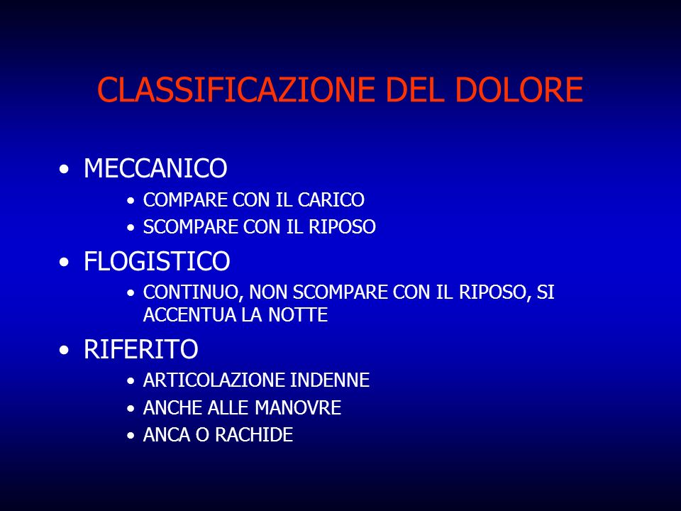CLASSIFICAZIONE DEL DOLORE