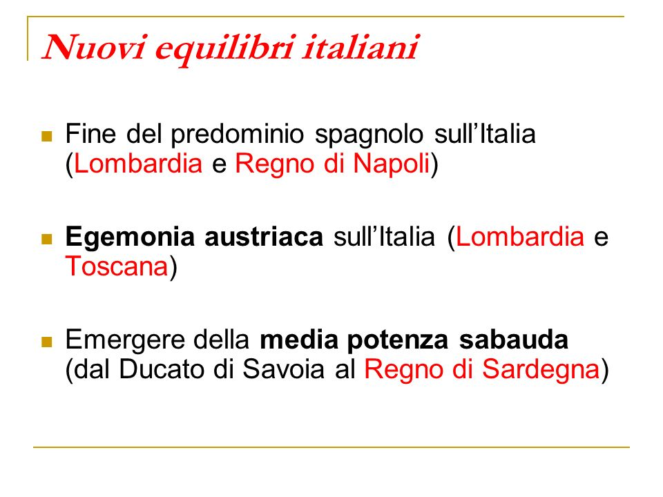 Nuovi equilibri italiani