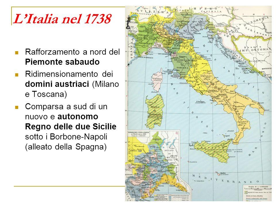 L'Italia nel 1738 Rafforzamento a nord del Piemonte sabaudo