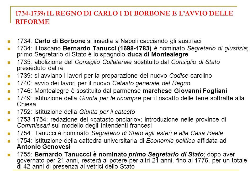 1734-1759: IL REGNO DI CARLO I DI BORBONE E L'AVVIO DELLE RIFORME