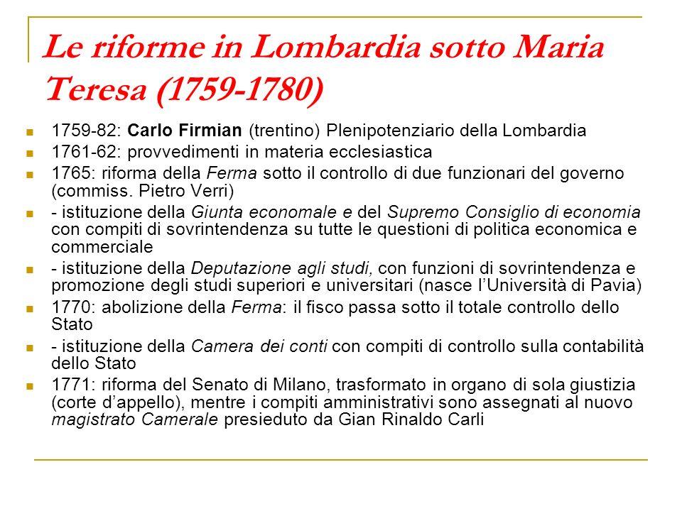 Le riforme in Lombardia sotto Maria Teresa (1759-1780)