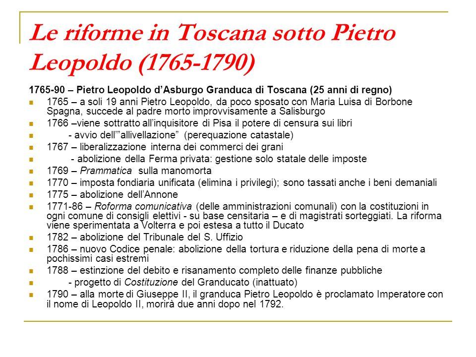 Le riforme in Toscana sotto Pietro Leopoldo (1765-1790)