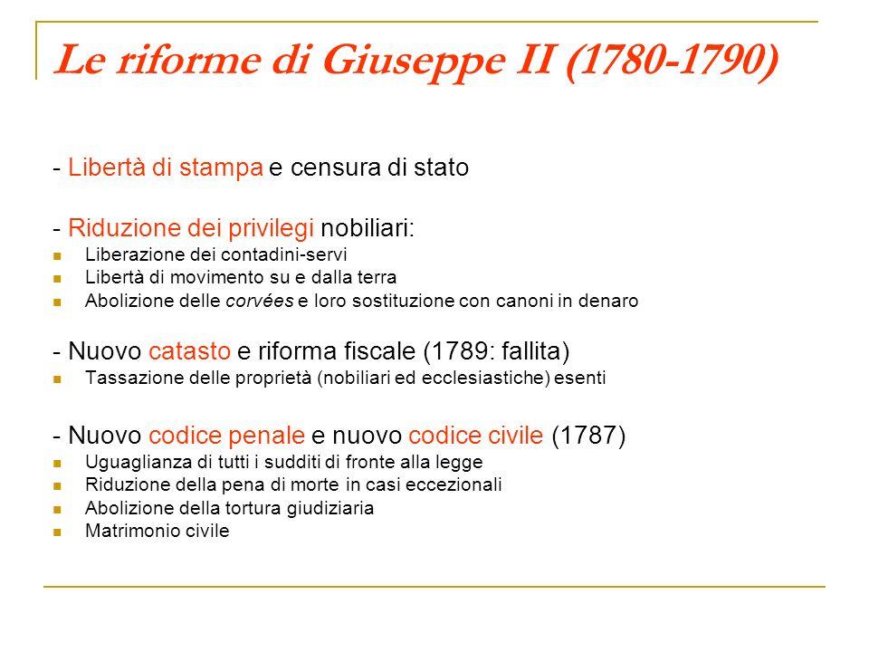 Le riforme di Giuseppe II (1780-1790)