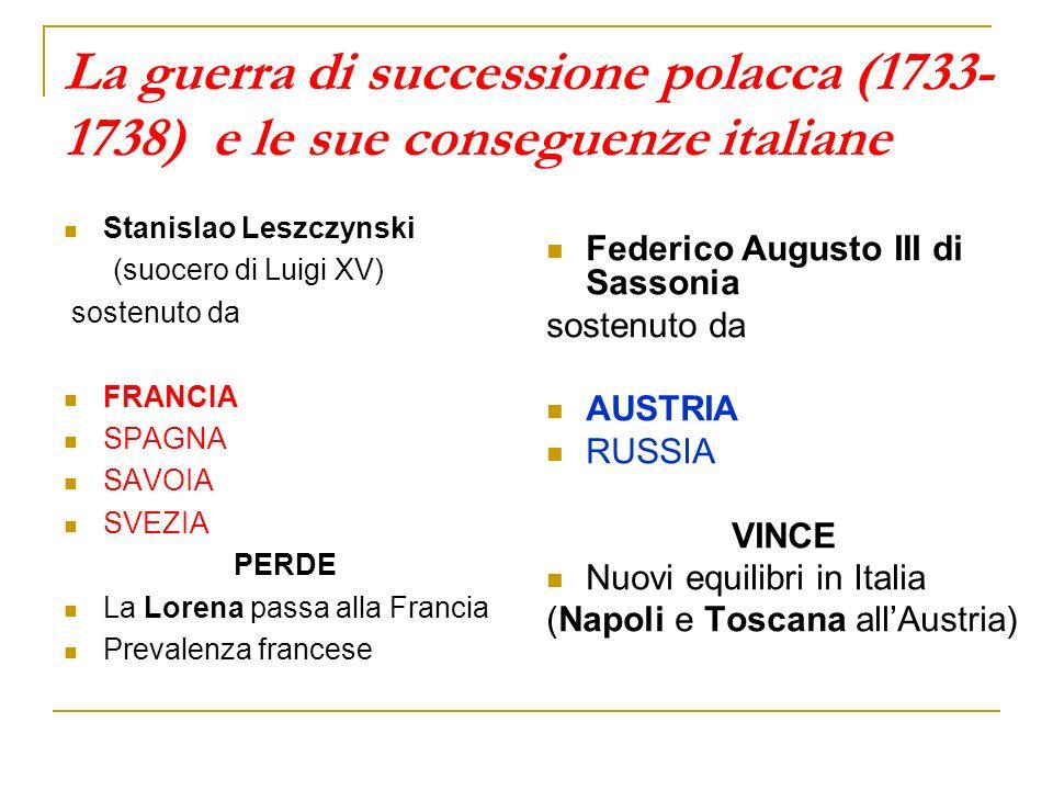 La guerra di successione polacca (1733-1738) e le sue conseguenze italiane