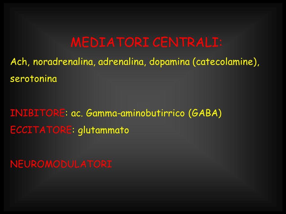 MEDIATORI CENTRALI: Ach, noradrenalina, adrenalina, dopamina (catecolamine), serotonina. INIBITORE: ac. Gamma-aminobutirrico (GABA)