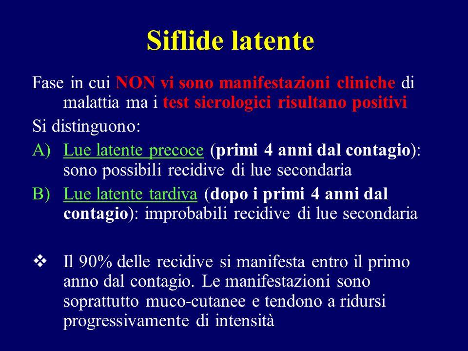 Siflide latente Fase in cui NON vi sono manifestazioni cliniche di malattia ma i test sierologici risultano positivi.