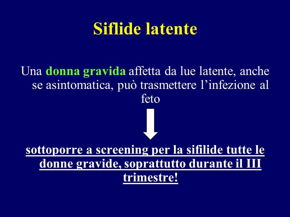 Siflide latente Una donna gravida affetta da lue latente, anche se asintomatica, può trasmettere l'infezione al feto.