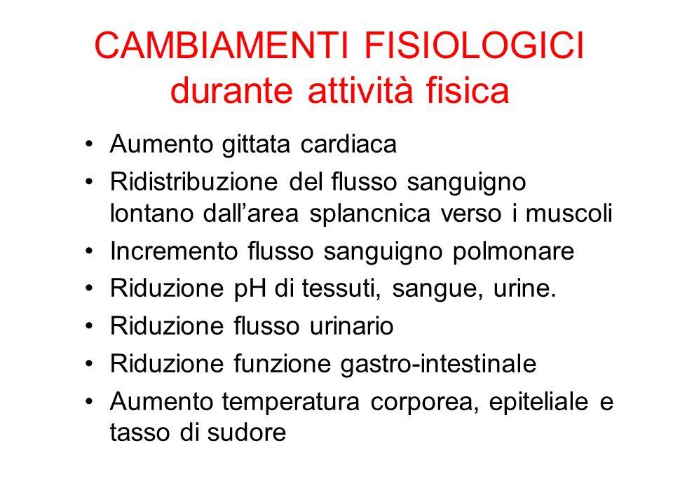 CAMBIAMENTI FISIOLOGICI durante attività fisica