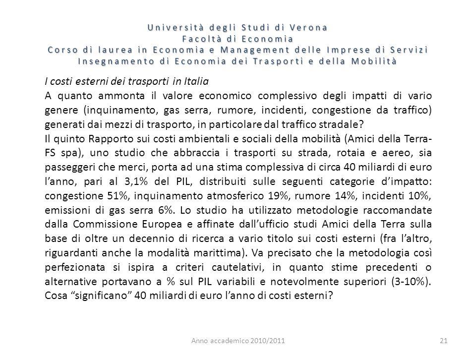 I costi esterni dei trasporti in Italia