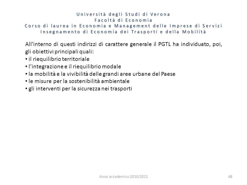 il riequilibrio territoriale l'integrazione e il riequilibrio modale