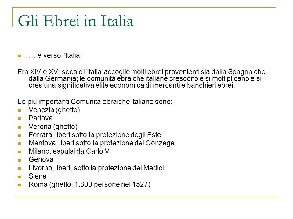 Gli Ebrei in Italia … e verso l'Italia.