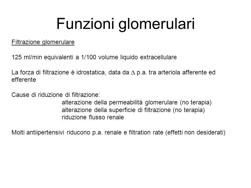 Funzioni glomerulari Filtrazione glomerulare