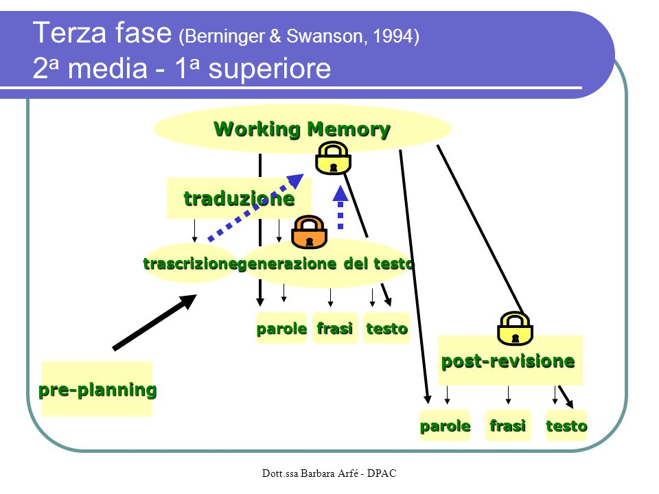 Terza fase (Berninger & Swanson, 1994) 2a media - 1a superiore