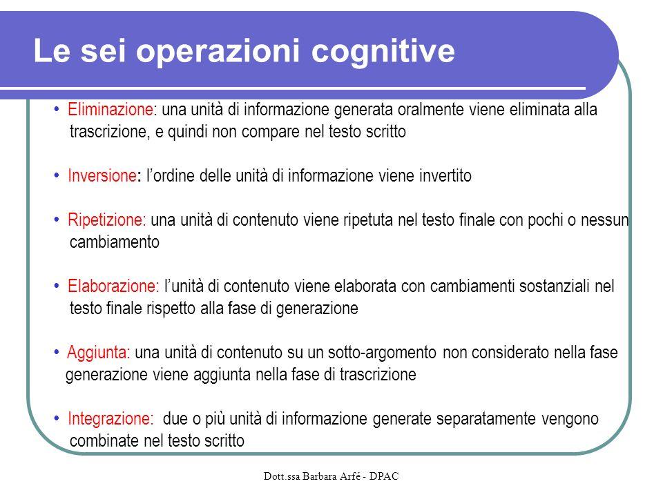 Le sei operazioni cognitive