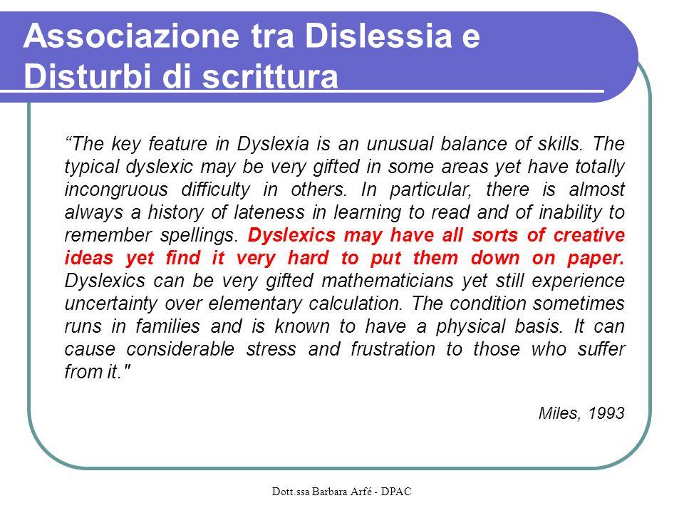 Associazione tra Dislessia e Disturbi di scrittura