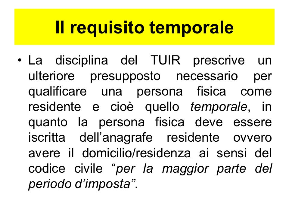 Il requisito temporale