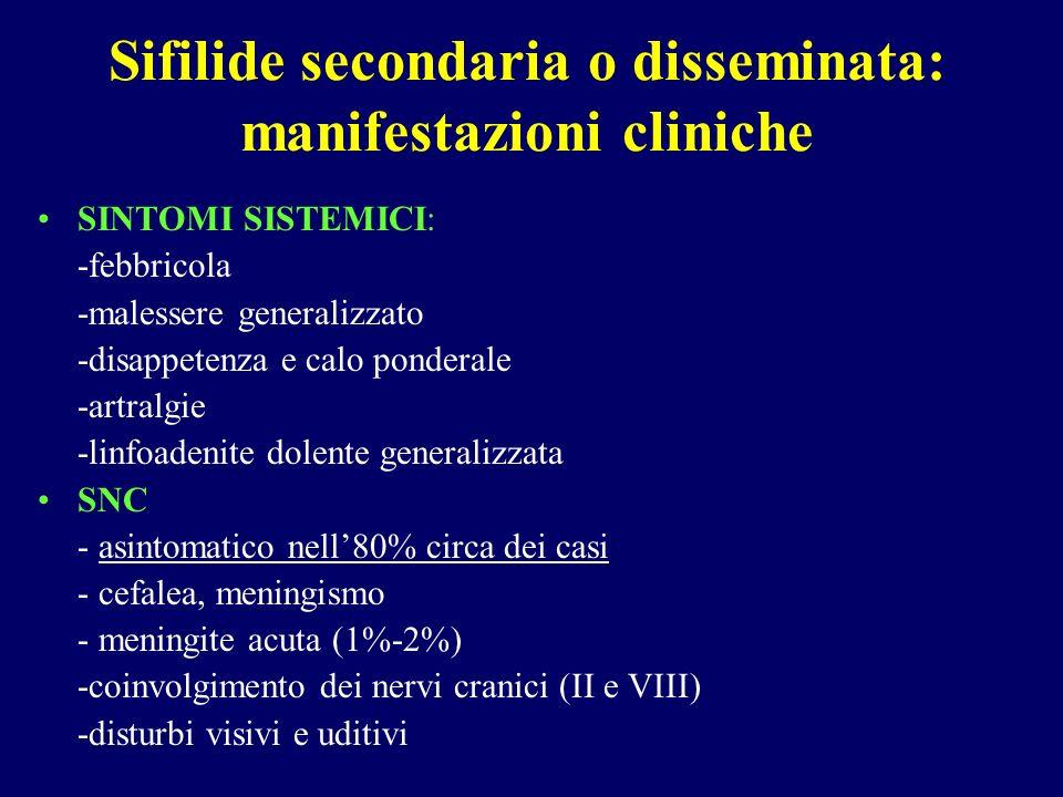 Sifilide secondaria o disseminata: manifestazioni cliniche