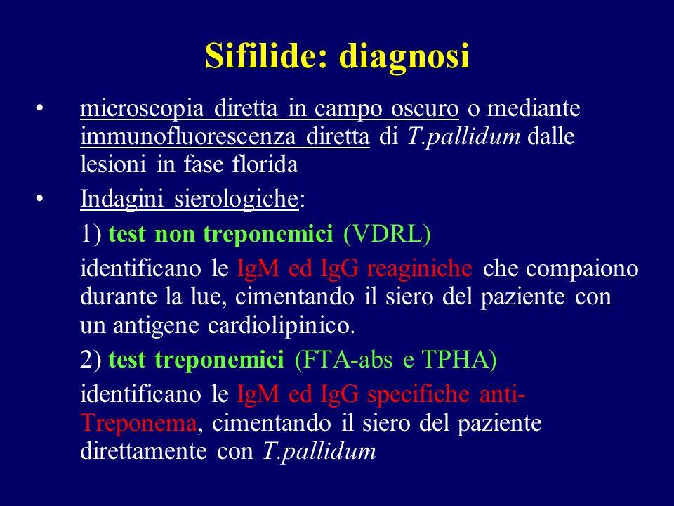 Sifilide: diagnosi microscopia diretta in campo oscuro o mediante immunofluorescenza diretta di T.pallidum dalle lesioni in fase florida.